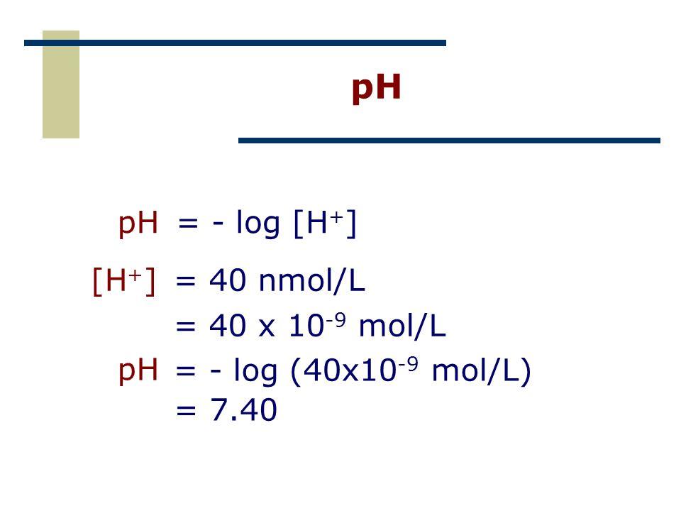 pH [H + ]= 40 nmol/L = 40 x 10 -9 mol/L pH= - log [H + ] = 7.40 = - log (40x10 -9 mol/L) pH