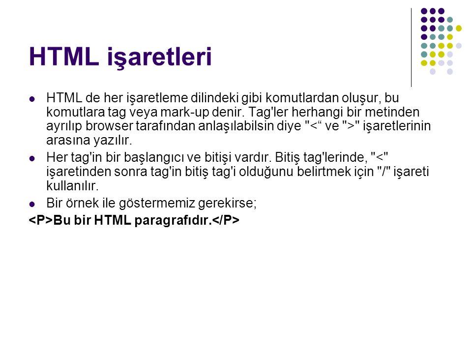 HTML işaretleri HTML de her işaretleme dilindeki gibi komutlardan oluşur, bu komutlara tag veya mark-up denir. Tag'ler herhangi bir metinden ayrılıp b