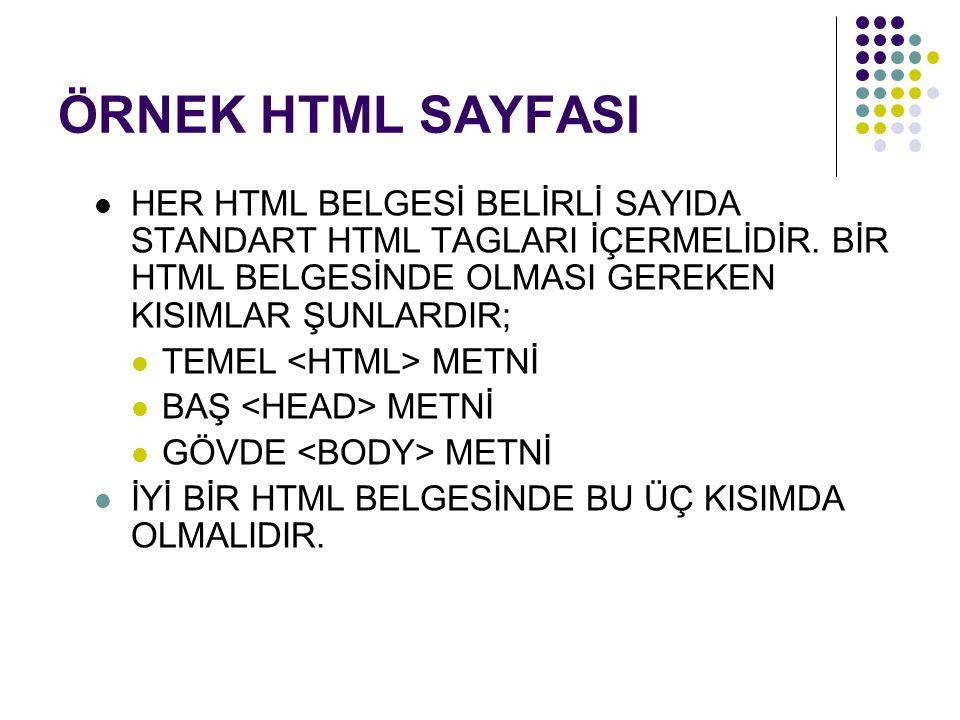 ÖRNEK HTML SAYFASI HER HTML BELGESİ BELİRLİ SAYIDA STANDART HTML TAGLARI İÇERMELİDİR. BİR HTML BELGESİNDE OLMASI GEREKEN KISIMLAR ŞUNLARDIR; TEMEL MET