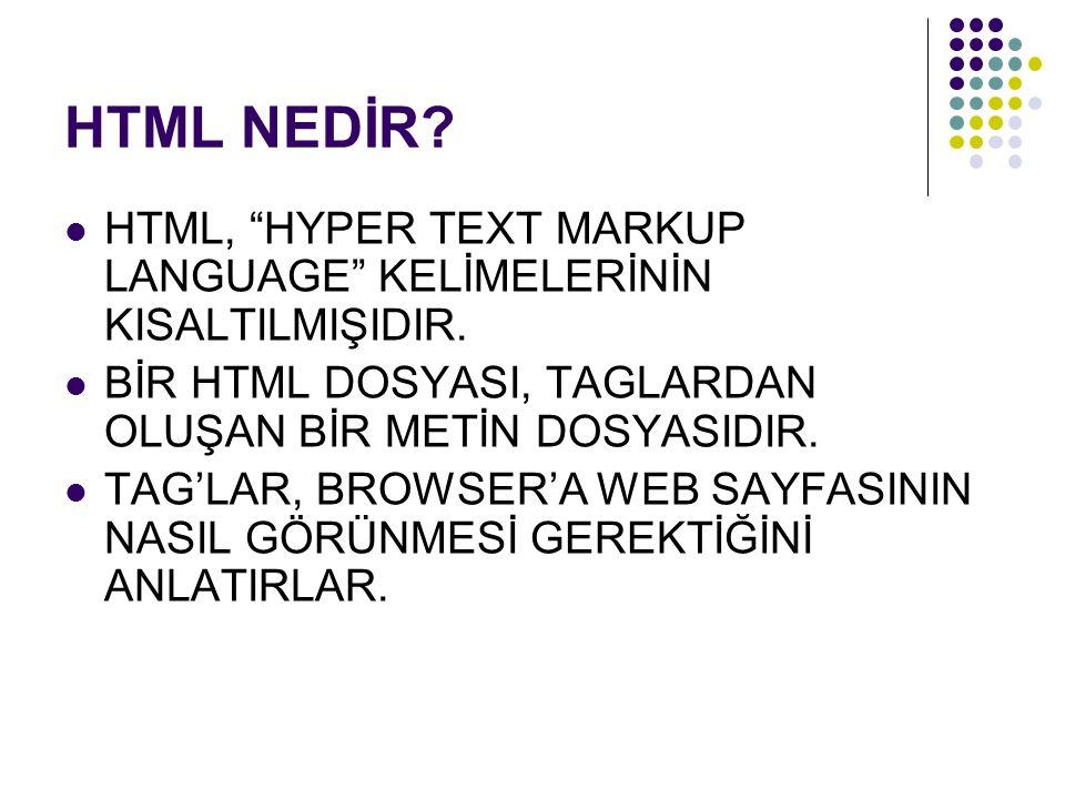 HTML NEDİR.STANDART BİR WEB SAYFASININ UZANTISI.HTM VEYA.HTML OLMALIDIR.