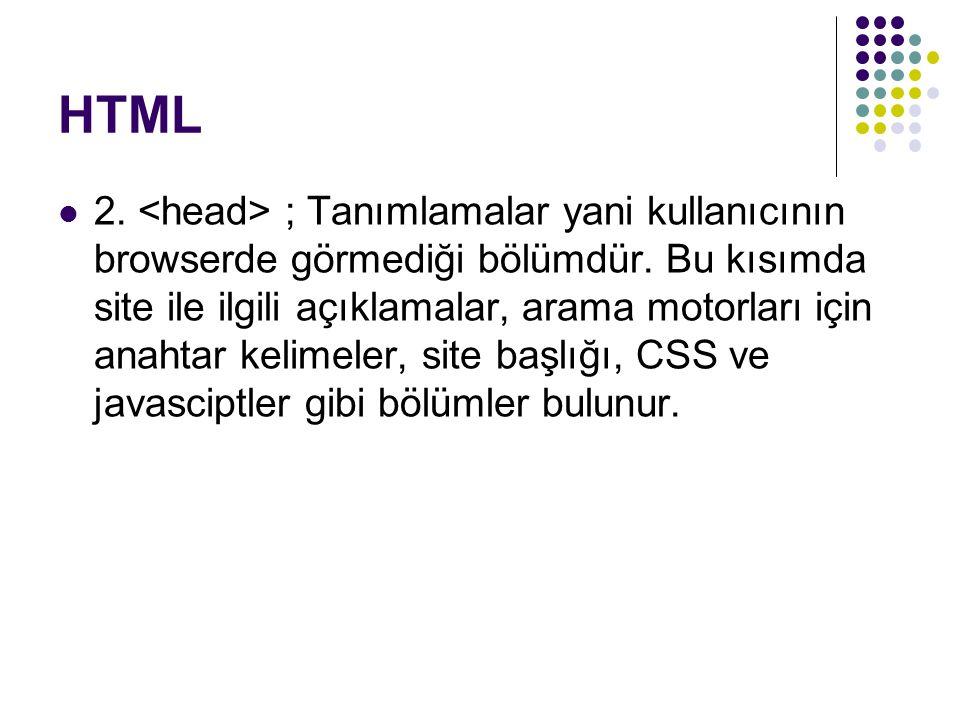 HTML 2. ; Tanımlamalar yani kullanıcının browserde görmediği bölümdür. Bu kısımda site ile ilgili açıklamalar, arama motorları için anahtar kelimeler,