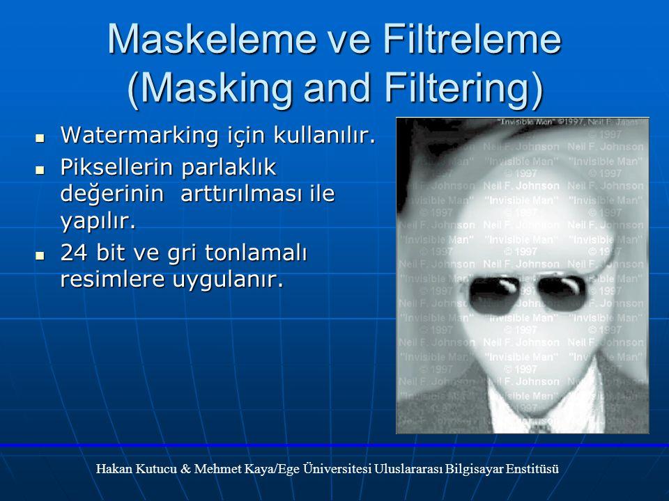 Maskeleme ve Filtreleme (Masking and Filtering) Watermarking için kullanılır.
