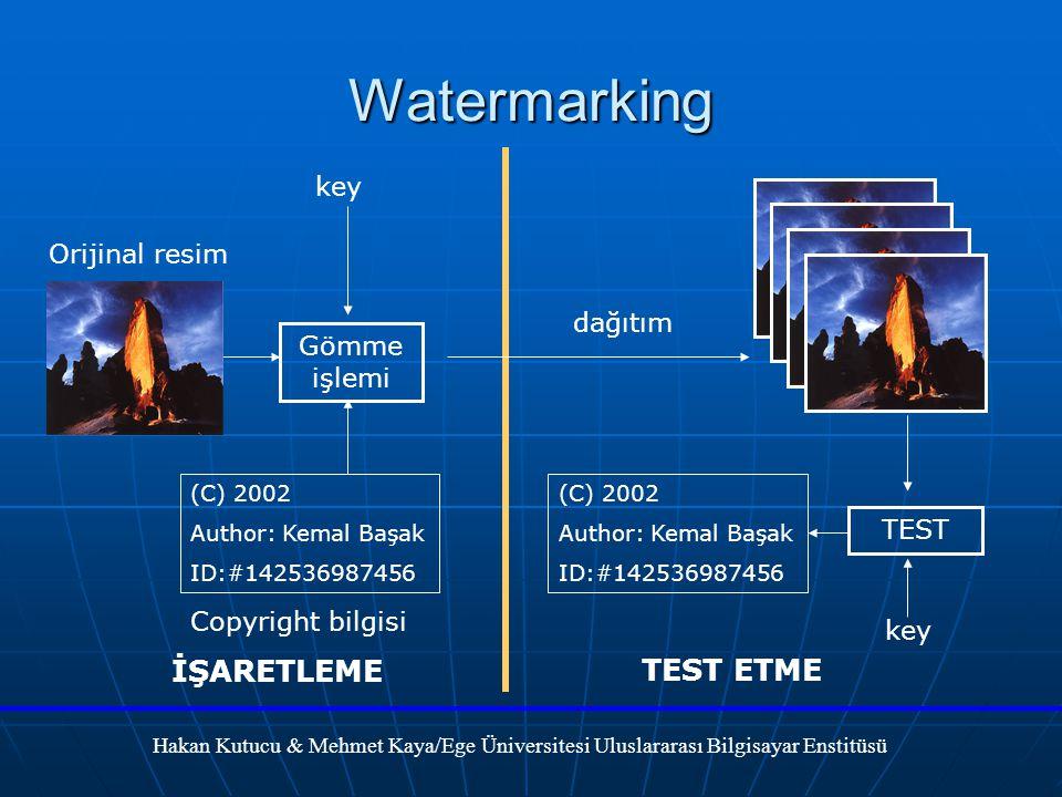 Watermarking Orijinal resim Gömme işlemi key (C) 2002 Author: Kemal Başak ID:#142536987456 Copyright bilgisi dağıtım TEST key (C) 2002 Author: Kemal Başak ID:#142536987456 İŞARETLEME TEST ETME