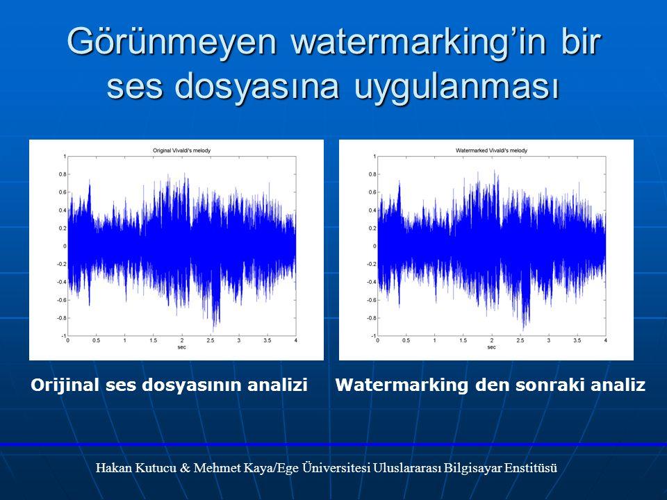 Görünmeyen watermarking'in bir ses dosyasına uygulanması Hakan Kutucu & Mehmet Kaya/Ege Üniversitesi Uluslararası Bilgisayar Enstitüsü Orijinal ses dosyasının analiziWatermarking den sonraki analiz