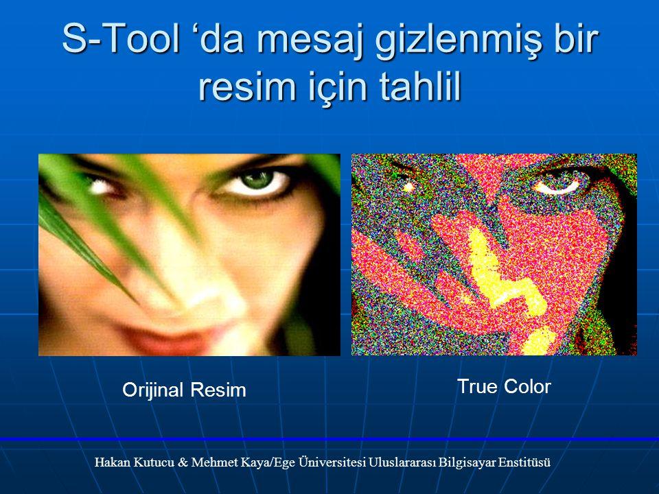 S-Tool 'da mesaj gizlenmiş bir resim için tahlil Hakan Kutucu & Mehmet Kaya/Ege Üniversitesi Uluslararası Bilgisayar Enstitüsü Orijinal Resim True Color