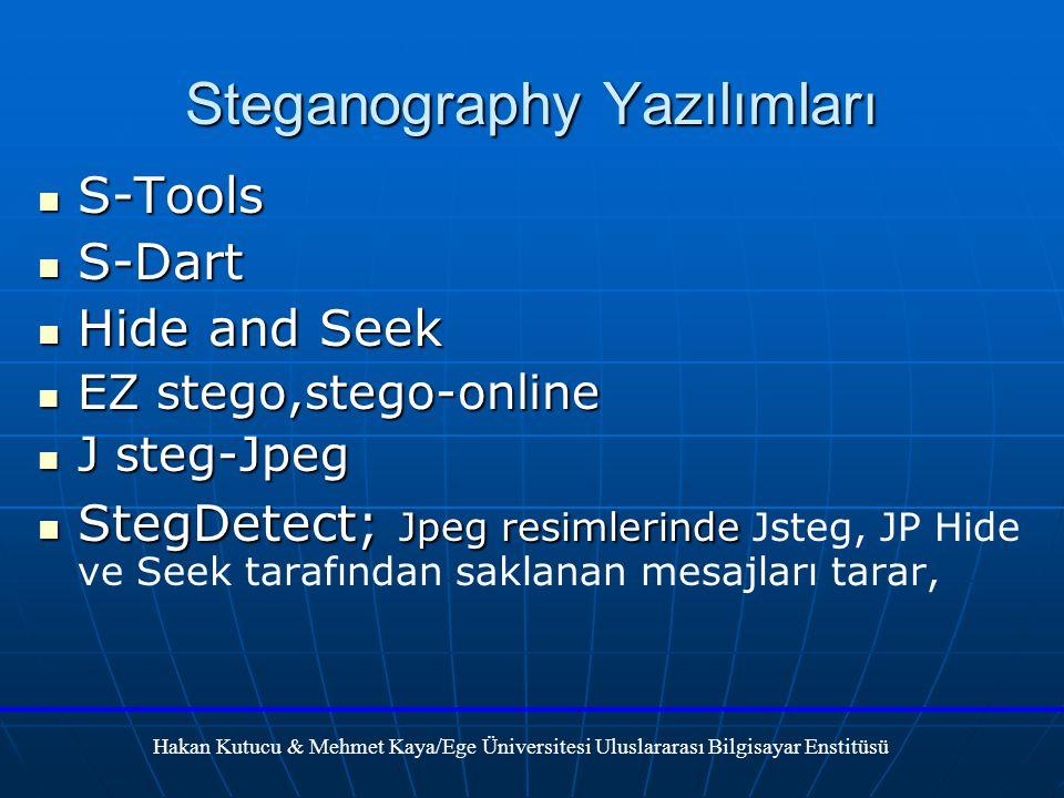 Steganography Yazılımları S-Tools S-Tools S-Dart S-Dart Hide and Seek Hide and Seek EZ stego,stego-online EZ stego,stego-online J steg-Jpeg J steg-Jpeg StegDetect; Jpeg resimlerinde StegDetect; Jpeg resimlerinde Jsteg, JP Hide ve Seek tarafından saklanan mesajları tarar, Hakan Kutucu & Mehmet Kaya/Ege Üniversitesi Uluslararası Bilgisayar Enstitüsü