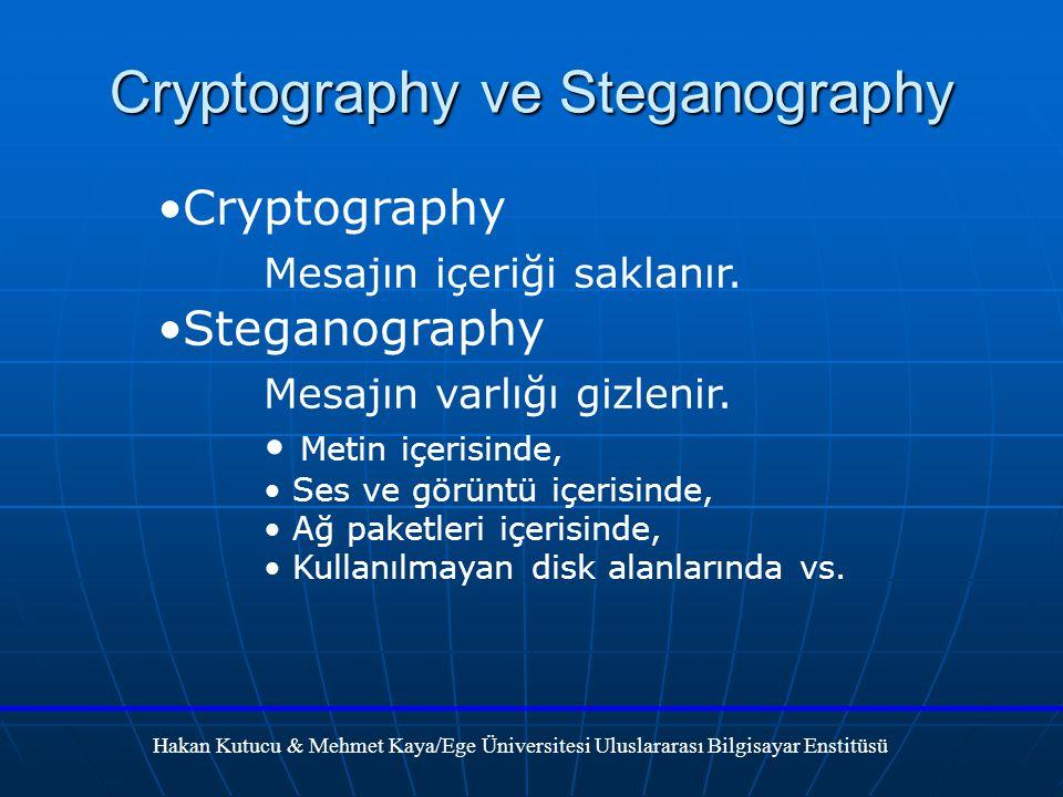 Cryptography Mesajın içeriği saklanır.Steganography Mesajın varlığı gizlenir.