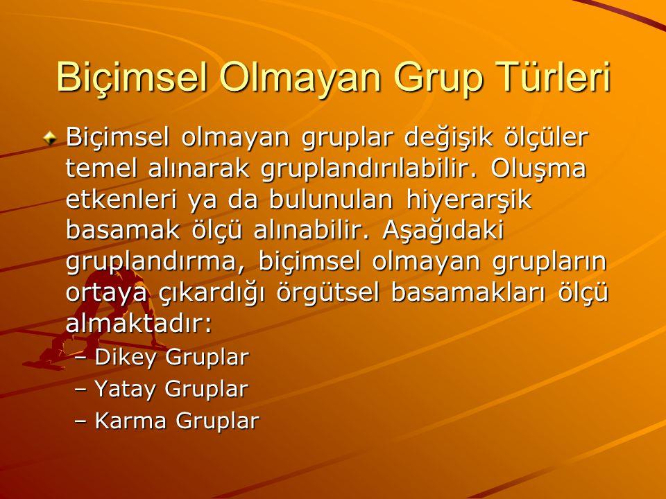 Biçimsel Olmayan Grup Türleri Biçimsel olmayan gruplar değişik ölçüler temel alınarak gruplandırılabilir.