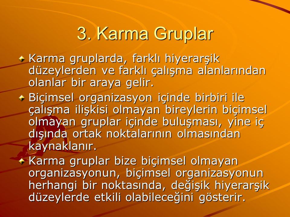 3. Karma Gruplar Karma gruplarda, farklı hiyerarşik düzeylerden ve farklı çalışma alanlarından olanlar bir araya gelir. Biçimsel organizasyon içinde b