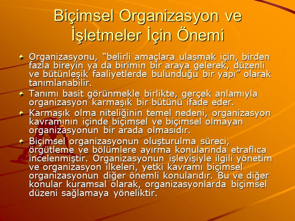 Biçimsel Organizasyon ve İşletmeler İçin Önemi Organizasyonu, belirli amaçlara ulaşmak için, birden fazla bireyin ya da birimin bir araya gelerek, düzenli ve bütünleşik faaliyetlerde bulunduğu bir yapı olarak tanımlanabilir.