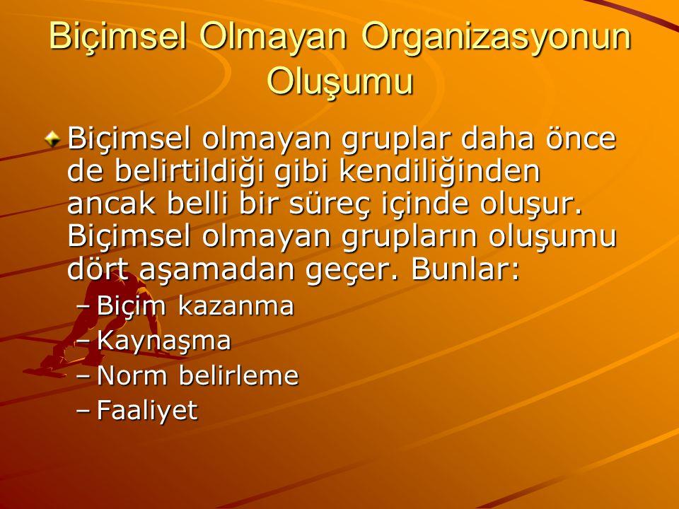 Biçimsel Olmayan Organizasyonun Oluşumu Biçimsel olmayan gruplar daha önce de belirtildiği gibi kendiliğinden ancak belli bir süreç içinde oluşur.