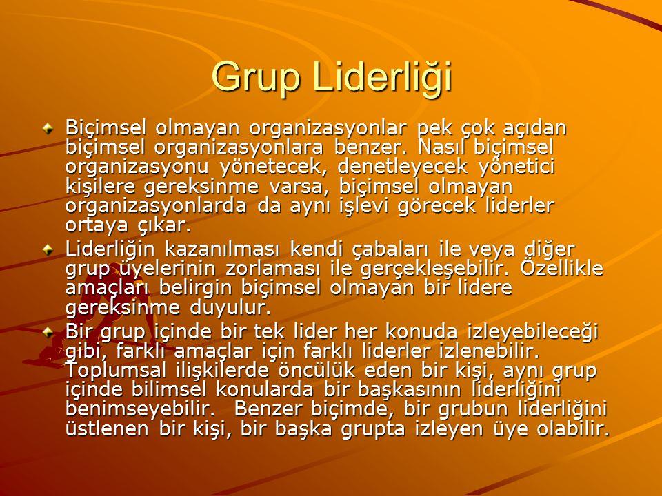 Grup Liderliği Biçimsel olmayan organizasyonlar pek çok açıdan biçimsel organizasyonlara benzer.