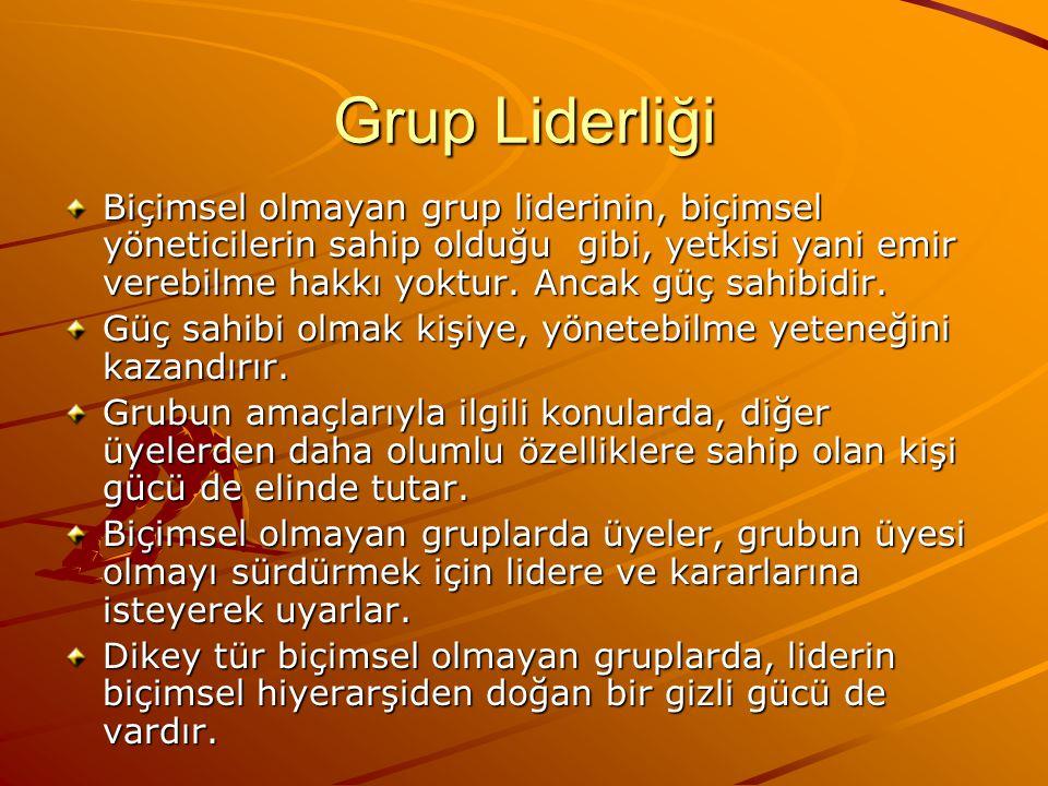 Grup Liderliği Biçimsel olmayan grup liderinin, biçimsel yöneticilerin sahip olduğu gibi, yetkisi yani emir verebilme hakkı yoktur.