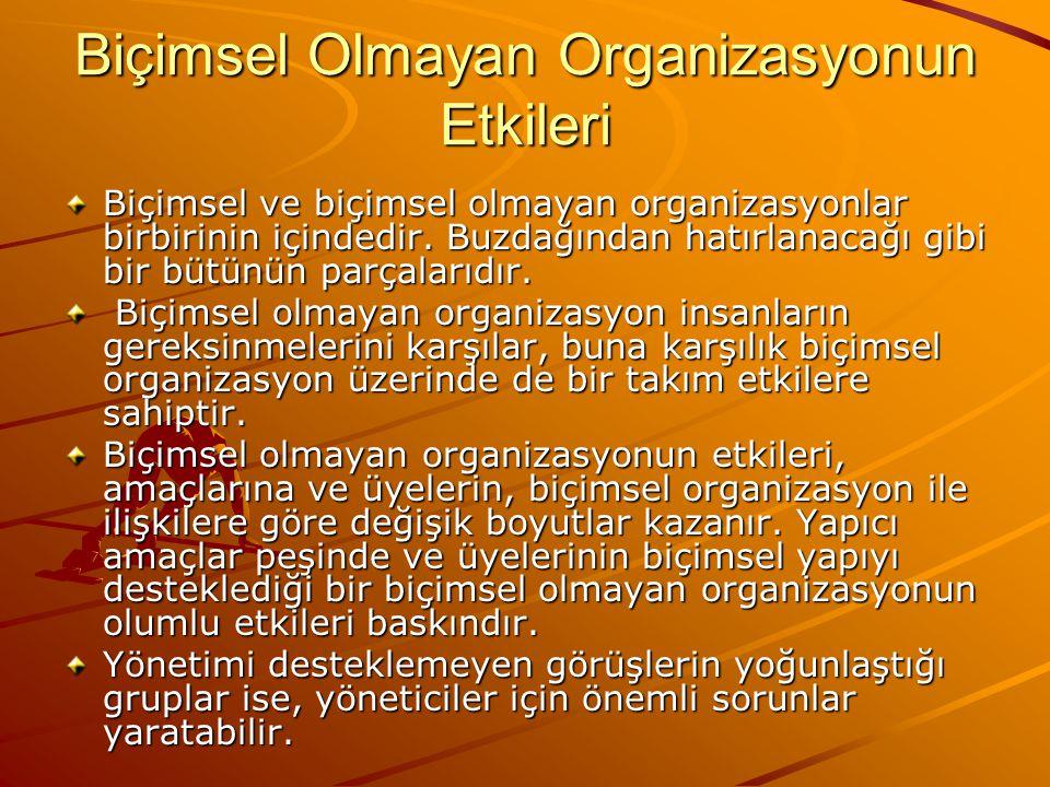 Biçimsel Olmayan Organizasyonun Etkileri Biçimsel ve biçimsel olmayan organizasyonlar birbirinin içindedir.