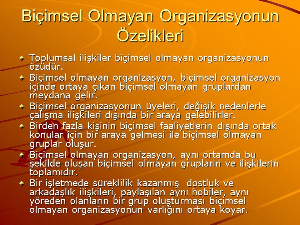 Biçimsel Organizasyon-Biçimsel Olmayan Organizasyon İlişkisi Biçimsel organizasyon komuta birimleri, emir- komuta ilişkilerini, hiyerarşik basamakları, biçimsel çalışma ekiplerini kapsar.