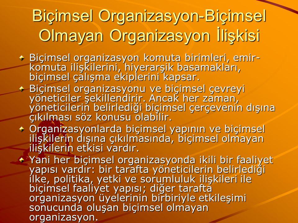 Biçimsel ve Biçimsel Olmayan Organizasyonun Karşılaştırması Her biçimsel organizasyonun içinde bir biçimsel olmayan organizasyon vardır.