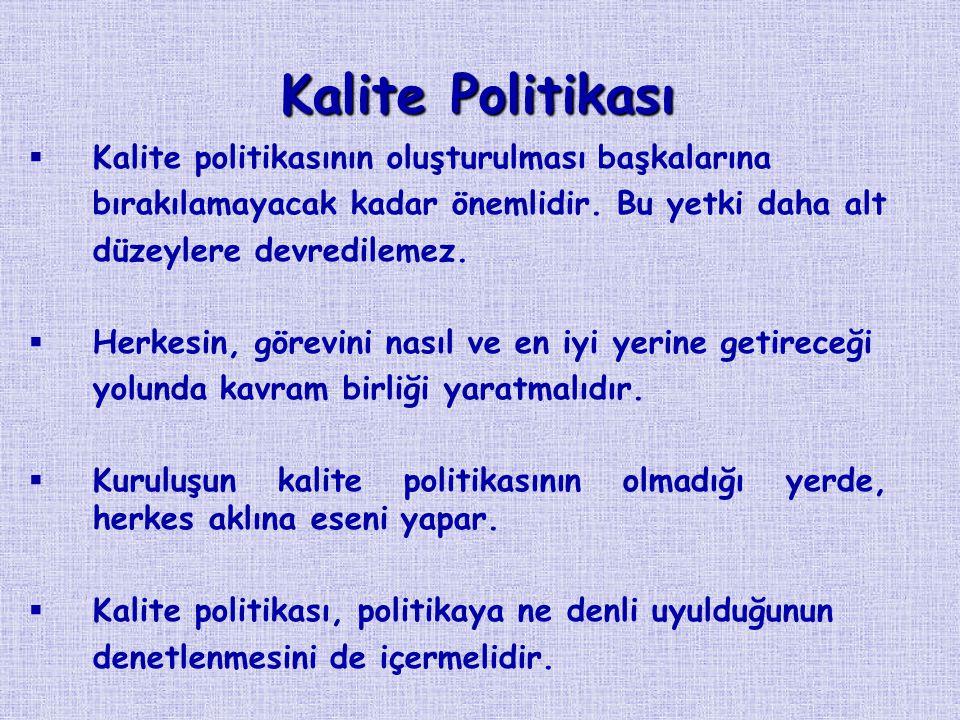 Kalite Politikası   Kalite politikasının oluşturulması başkalarına bırakılamayacak kadar önemlidir.