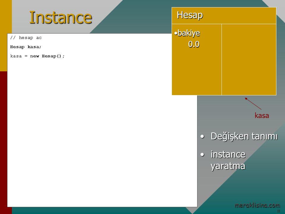 11 11 meraklisina.comInstance // hesap ac Hesap kasa; kasa = new Hesap(); Değişken tanımıDeğişken tanımı instance yaratmainstance yaratma bakiyebakiye0.0Hesap kasa