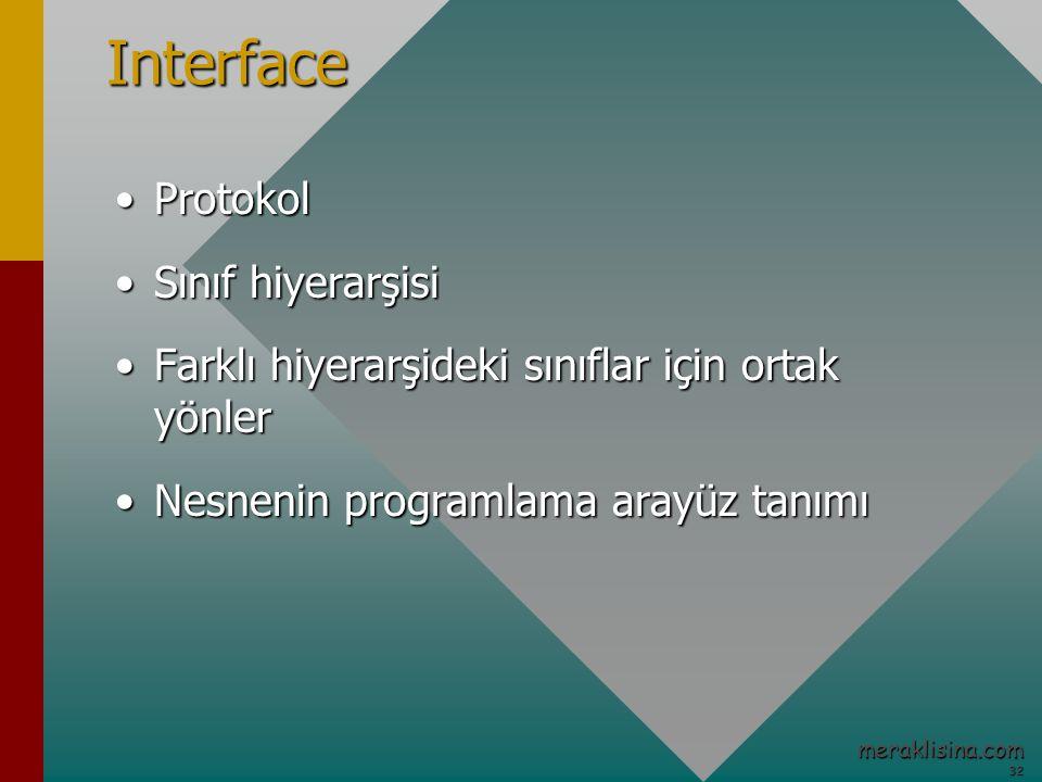 32 32 meraklisina.comInterface ProtokolProtokol Sınıf hiyerarşisiSınıf hiyerarşisi Farklı hiyerarşideki sınıflar için ortak yönlerFarklı hiyerarşideki sınıflar için ortak yönler Nesnenin programlama arayüz tanımıNesnenin programlama arayüz tanımı