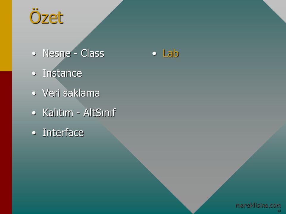 41 41 meraklisina.comÖzet Nesne - ClassNesne - Class InstanceInstance Veri saklamaVeri saklama Kalıtım - AltSınıfKalıtım - AltSınıf InterfaceInterface LabLab