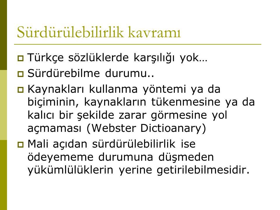 Sürdürülebilirlik kavramı  Türkçe sözlüklerde karşılığı yok…  Sürdürebilme durumu..  Kaynakları kullanma yöntemi ya da biçiminin, kaynakların tüken