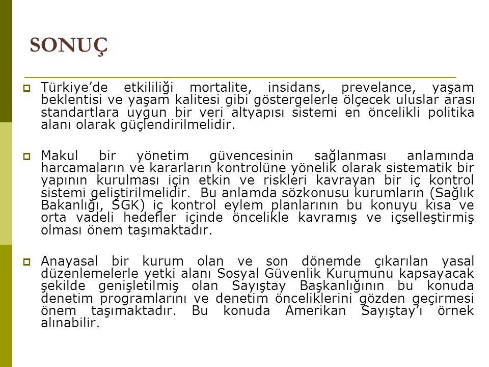  Türkiye'de etkililiği mortalite, insidans, prevelance, yaşam beklentisi ve yaşam kalitesi gibi göstergelerle ölçecek uluslar arası standartlara uygun bir veri altyapısı sistemi en öncelikli politika alanı olarak güçlendirilmelidir.