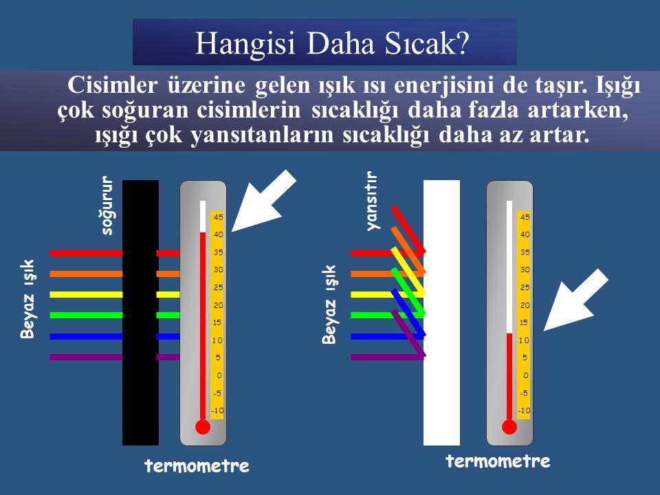 Hangisi Daha Sıcak.C isimler üzerine gelen ışık ısı enerjisini de taşır.