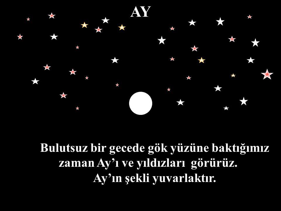AY Bulutsuz bir gecede gök yüzüne baktığımız zaman Ay'ı ve yıldızları görürüz. Ay'ın şekli yuvarlaktır.
