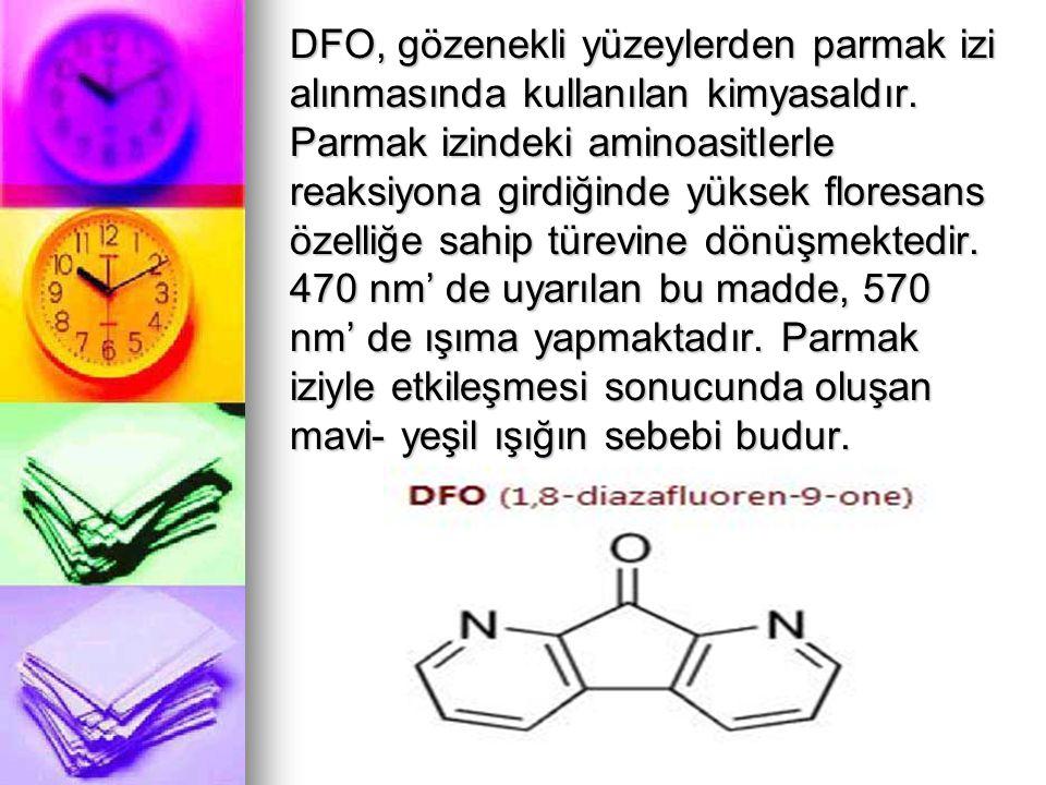 LAWSONE: Yeni Parmak İzi Belirteci Bu madde aminoasitlerle verdiği reaksiyonları iyi bilinen naftakinon (naphthoquinone) grubuna ait bir bileşik.