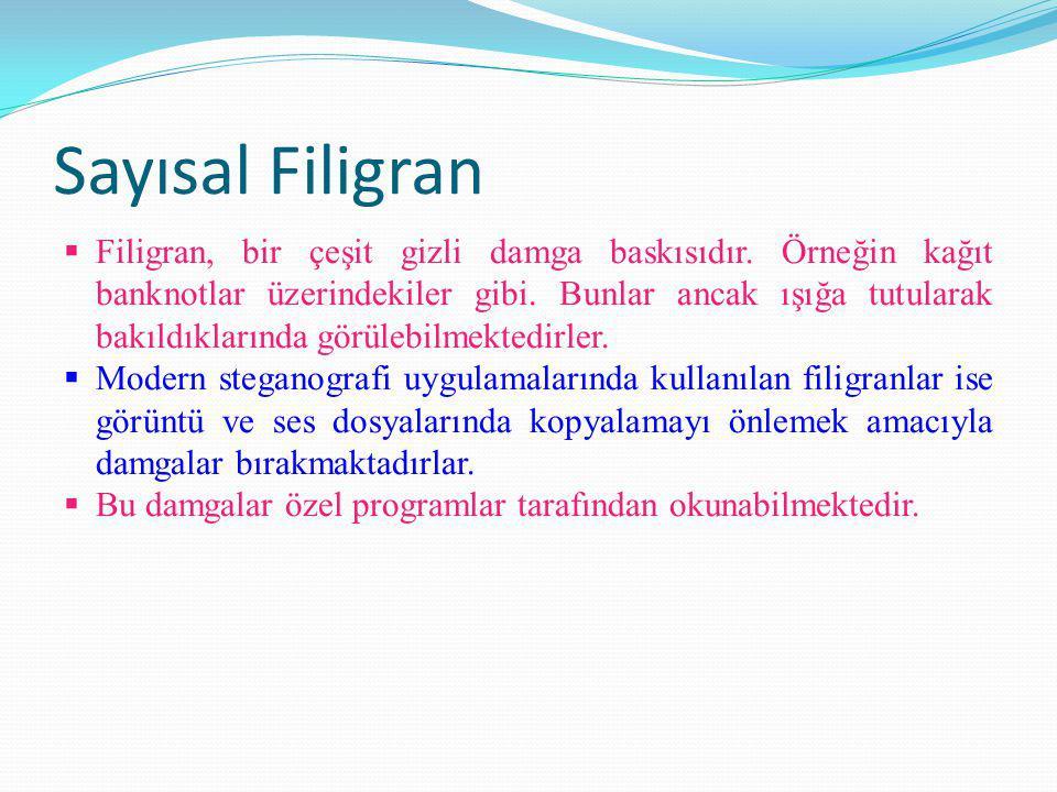 Sayısal Filigran  Filigran, bir çeşit gizli damga baskısıdır.