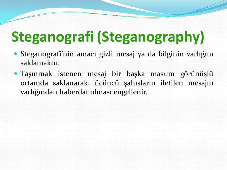 Steganografi (Steganography) Steganografi'nin amacı gizli mesaj ya da bilginin varlığını saklamaktır.