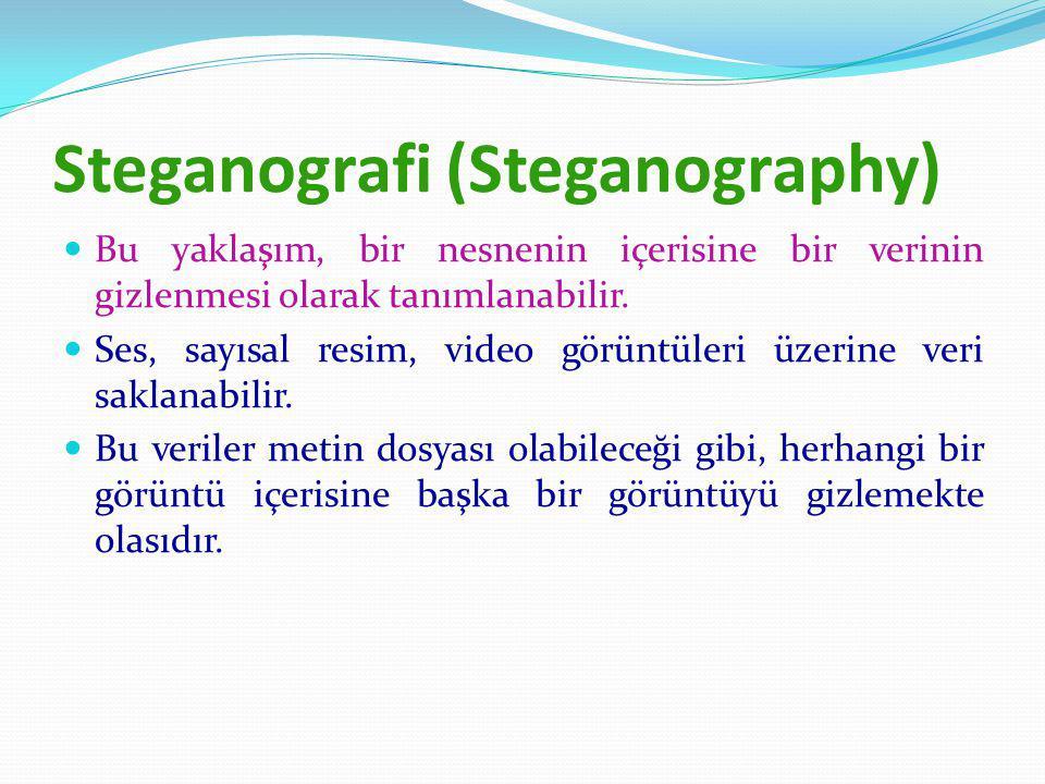 Steganografi (Steganography) Bu yaklaşım, bir nesnenin içerisine bir verinin gizlenmesi olarak tanımlanabilir.