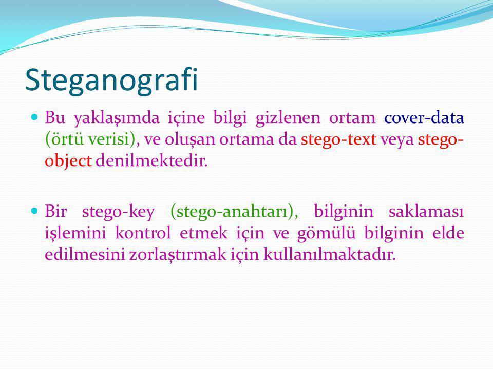 Steganografi Bu yaklaşımda içine bilgi gizlenen ortam cover-data (örtü verisi), ve oluşan ortama da stego-text veya stego- object denilmektedir.