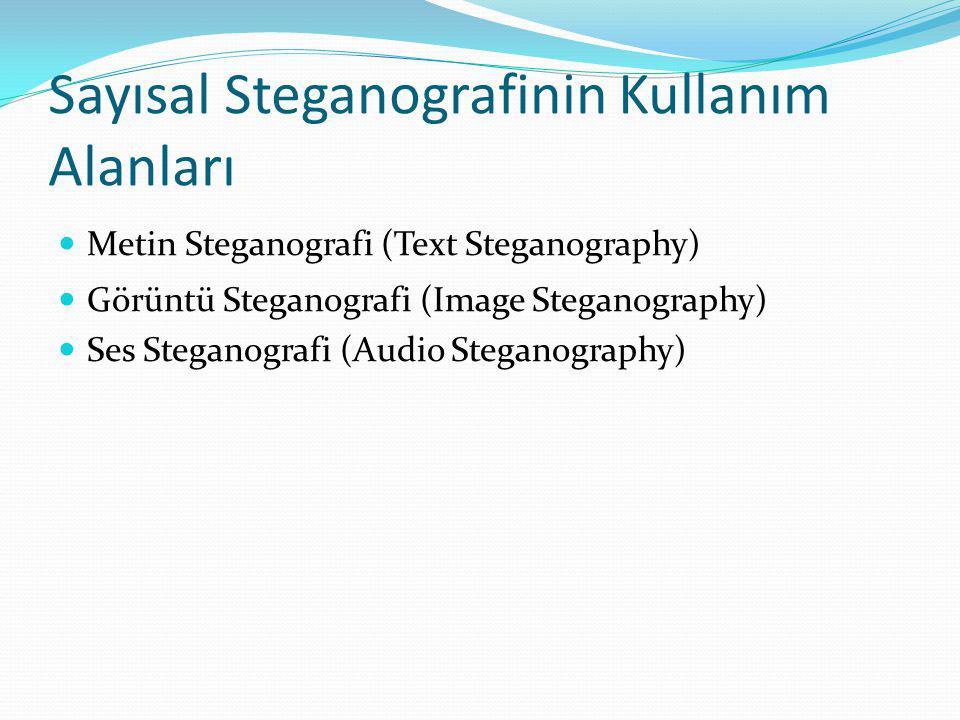 Sayısal Steganografinin Kullanım Alanları Metin Steganografi (Text Steganography) Görüntü Steganografi (Image Steganography) Ses Steganografi (Audio Steganography)