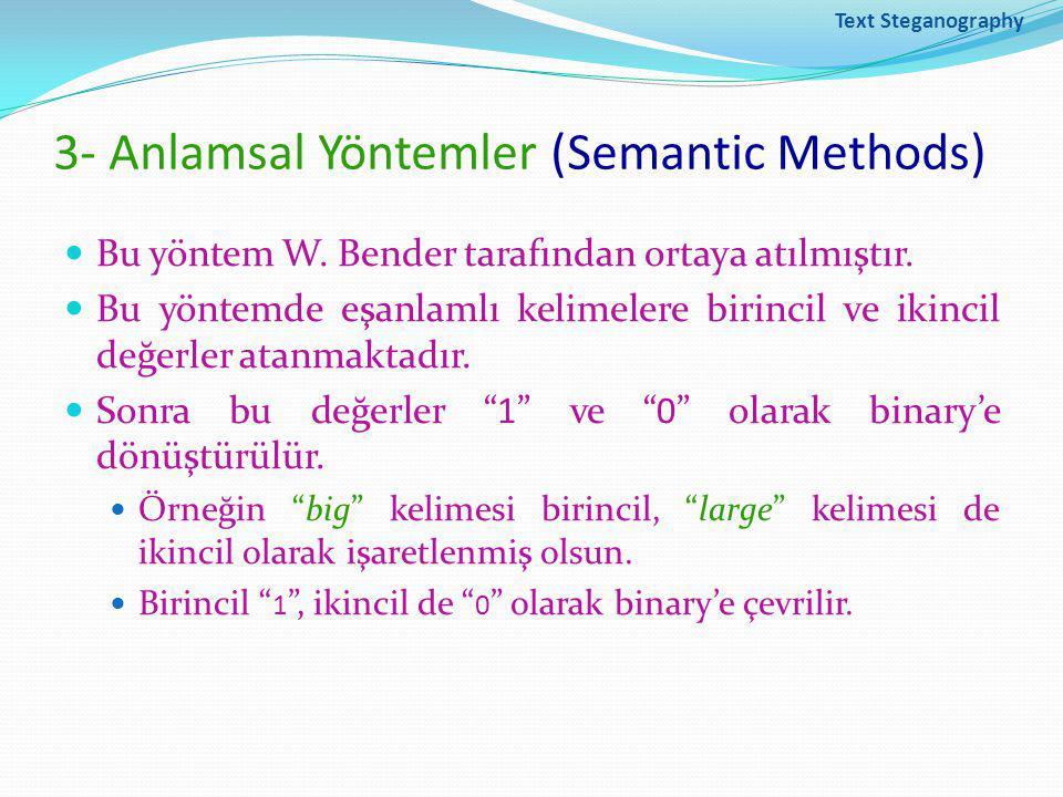 Text Steganography 3- Anlamsal Yöntemler (Semantic Methods) Bu yöntem W.