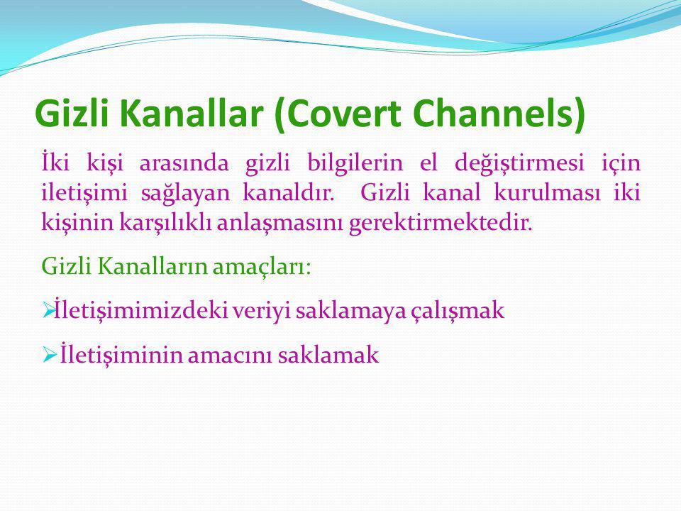 Gizli Kanallar (Covert Channels) İki kişi arasında gizli bilgilerin el değiştirmesi için iletişimi sağlayan kanaldır.