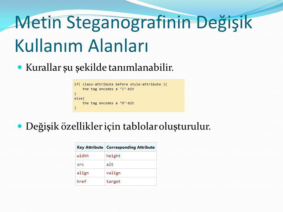 Metin Steganografinin Değişik Kullanım Alanları Kurallar şu şekilde tanımlanabilir.