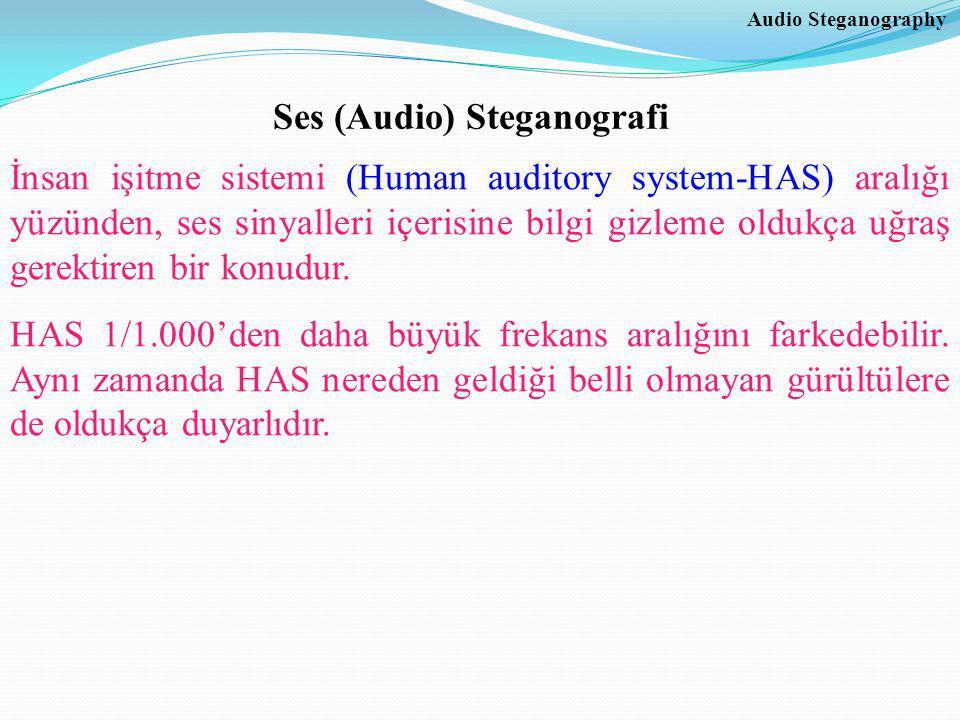 Audio Steganography Ses (Audio) Steganografi İnsan işitme sistemi (Human auditory system-HAS) aralığı yüzünden, ses sinyalleri içerisine bilgi gizleme oldukça uğraş gerektiren bir konudur.