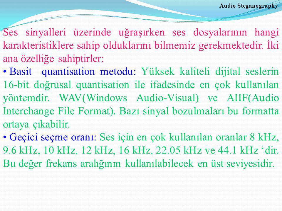 Audio Steganography Ses sinyalleri üzerinde uğraşırken ses dosyalarının hangi karakteristiklere sahip olduklarını bilmemiz gerekmektedir.