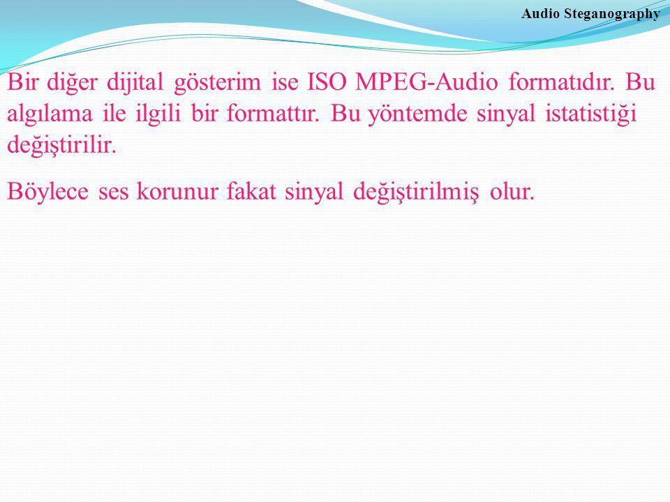Audio Steganography Bir diğer dijital gösterim ise ISO MPEG-Audio formatıdır.