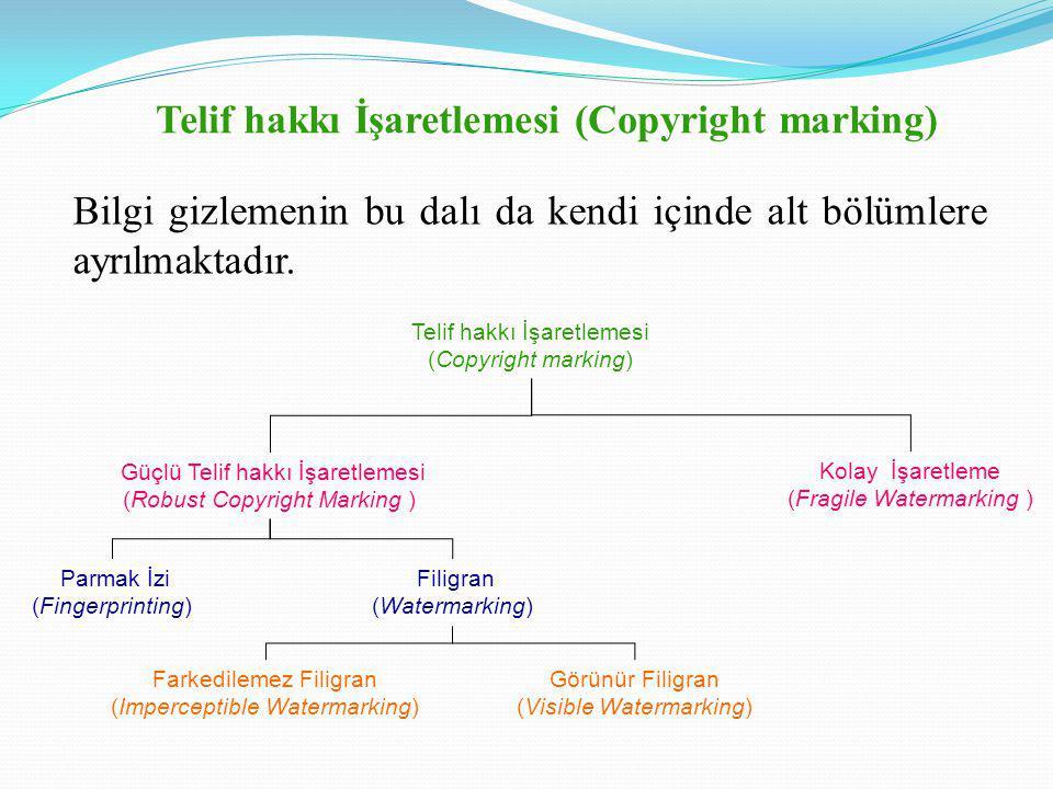 Telif hakkı İşaretlemesi (Copyright marking) Bilgi gizlemenin bu dalı da kendi içinde alt bölümlere ayrılmaktadır.