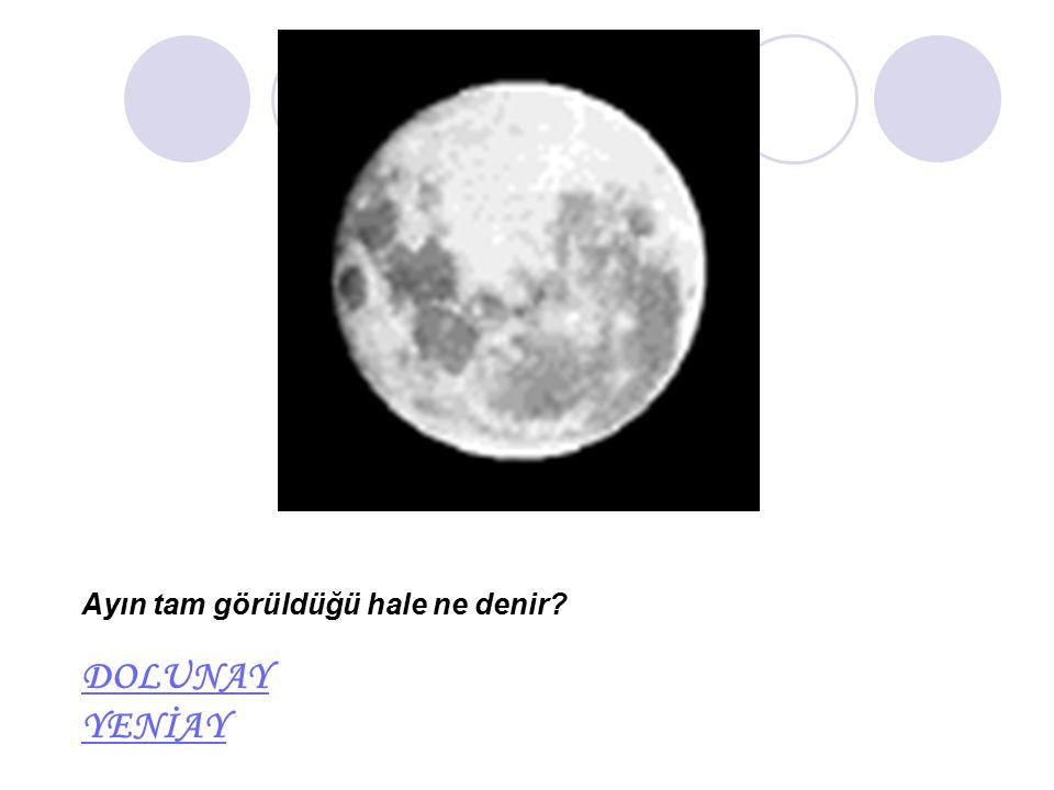 Ayın tam görüldüğü hale ne denir? DOLUNAY YENİAY DOLUNAY YENİAY