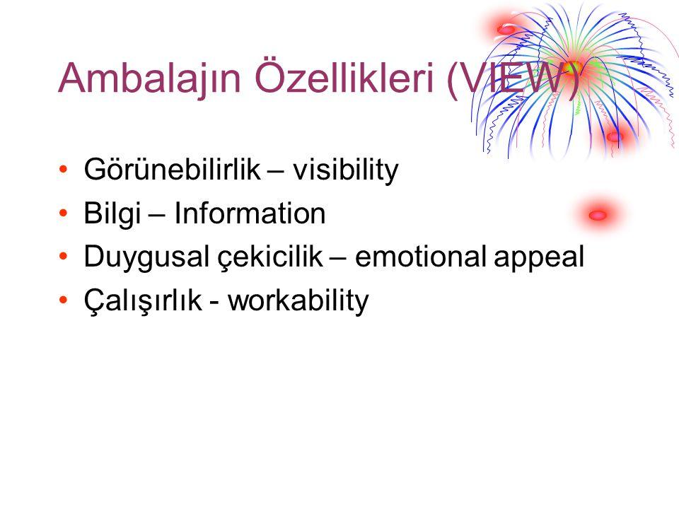 Ambalajın Özellikleri (VIEW) Görünebilirlik – visibility Bilgi – Information Duygusal çekicilik – emotional appeal Çalışırlık - workability