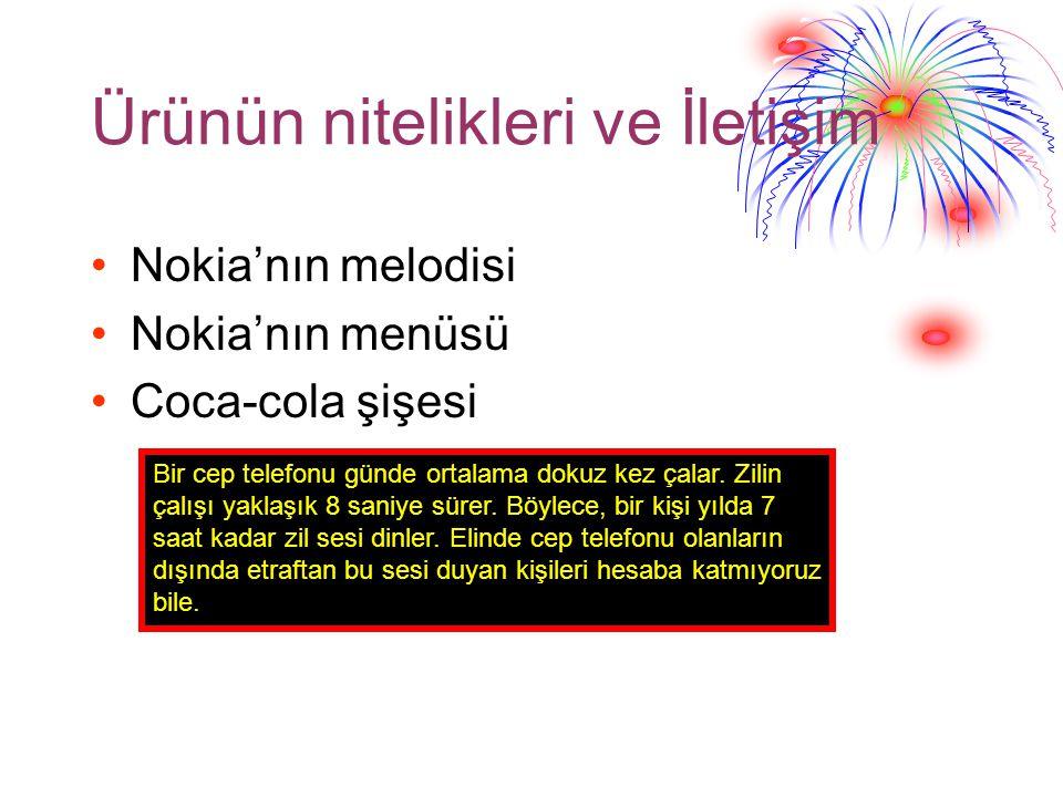 Ürünün nitelikleri ve İletişim Nokia'nın melodisi Nokia'nın menüsü Coca-cola şişesi Bir cep telefonu günde ortalama dokuz kez çalar.