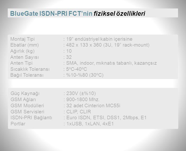 BlueGate ISDN-PRI FCT'nin fiziksel özellikleri Montaj Tipi: 19 endüstriyel kabin içerisine Ebatlar (mm): 482 x 133 x 360 (3U, 19 rack-mount) Ağırlık (kg): 10 Anten Sayısı: 32 Anten Tipi: SMA, indoor, mıknatıs tabanlı, kazançsız Sıcaklık Toleransı: 5ºC-40ºC Bağıl Toleransı: %10-%80 (30ºC) Güç Kaynağı: 230V (±%10) GSM Ağları: 900-1800 Mhz.