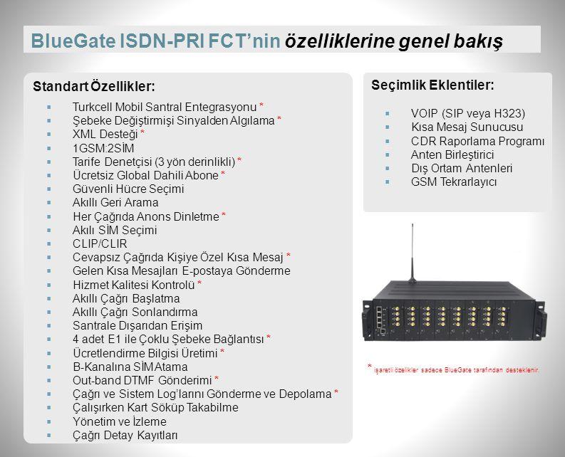 """BlueGate ISDN-PRI FCT'nin fiziksel özellikleri Montaj Tipi: 19"""" endüstriyel kabin içerisine Ebatlar (mm): 482 x 133 x 360 (3U, 19"""" rack-mount) Ağırlık"""