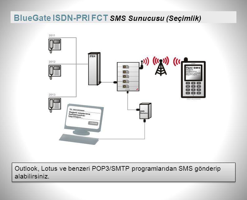 BlueGate ISDN-PRI FCT Çağrı detay kayıtları (CDR) Görüşmelere ilişkin tutulan kayıtlardan yola çıkarak kurum içinde bütçeleme, faturalama, ücretlendirme yapılabilir.