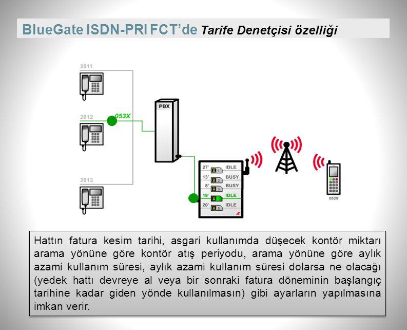 BlueGate ISDN-PRI FCT'de Tarife Denetçisi özelliği Hattın fatura kesim tarihi, asgari kullanımda düşecek kontör miktarı arama yönüne göre kontör atış periyodu, arama yönüne göre aylık azami kullanım süresi, aylık azami kullanım süresi dolarsa ne olacağı (yedek hattı devreye al veya bir sonraki fatura döneminin başlangıç tarihine kadar giden yönde kullanılmasın) gibi ayarların yapılmasına imkan verir.