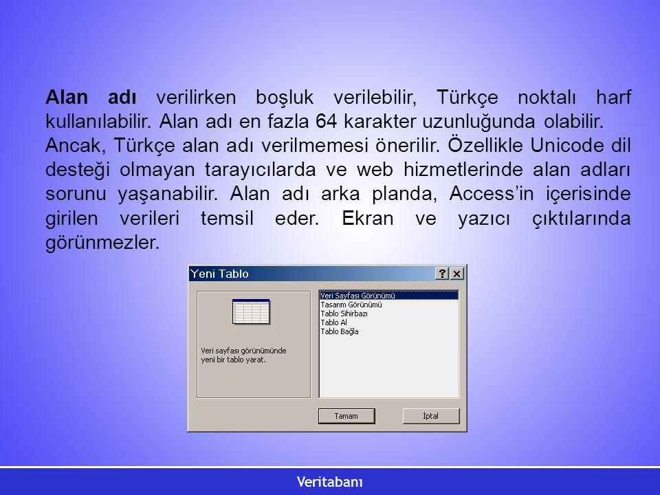 Veritabanı Alan adı verilirken boşluk verilebilir, Türkçe noktalı harf kullanılabilir. Alan adı en fazla 64 karakter uzunluğunda olabilir. Ancak, Türk