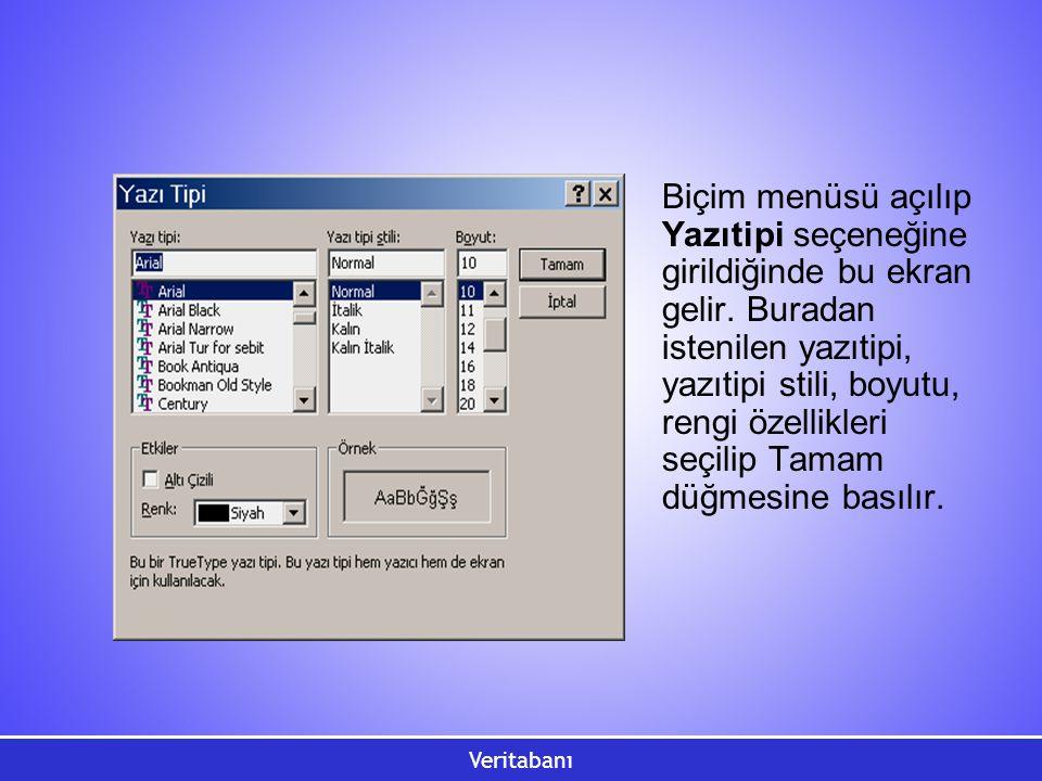 Veritabanı Biçim menüsü açılıp Yazıtipi seçeneğine girildiğinde bu ekran gelir. Buradan istenilen yazıtipi, yazıtipi stili, boyutu, rengi özellikleri